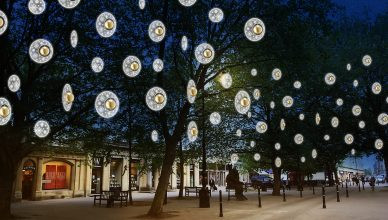 Christmas lights in the trees on The Promenade Cheltenham.